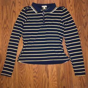 Stripped quarter zipper long sleeve